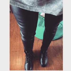 sunday leathers leather trousers - h&m DM style boots - ASOS grey knit - primark