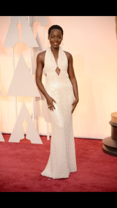 Lupita Nyang'o in a pearly Calvin Klein