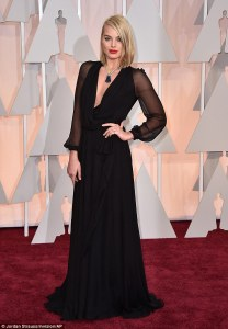 Margot Robbie in gorgeous black Saint Laurent