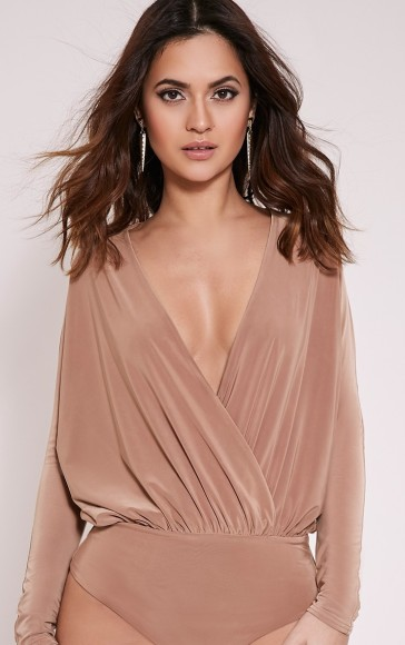https://www.prettylittlething.com/adelle-camel-long-sleeve-deep-plunge-bodysuit.html