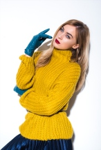 6296 - Aimee Boyle wears Mustard Jumper, £18, Navy Pleated Midi Skirt, £14, and Coloured PU Glove, £8, all from George.