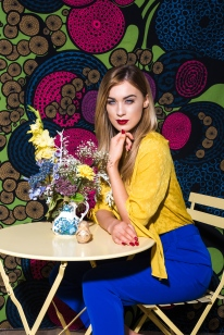 6367 - Aimee Boyle wears Yellow Blouse, £16, along with Blue Trousers, £14, both from George.