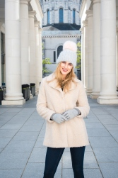 6631 - Aimee Boyle wears Borg Coat, £35 with Grey Pom Pom Hat, £7, both from George.